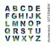 alphabet with green plants .... | Shutterstock .eps vector #1071506834