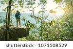 relaxed backpacker traveler... | Shutterstock . vector #1071508529