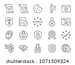 gdpr privacy policy icon set.... | Shutterstock .eps vector #1071509324