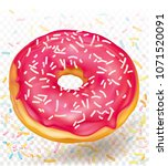 vector icon donut with pink...   Shutterstock .eps vector #1071520091