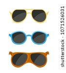 set of sunglasses isolated on...   Shutterstock . vector #1071526031