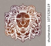 head of lion. isolated vector... | Shutterstock .eps vector #1071528119