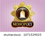 gold badge or emblem with... | Shutterstock .eps vector #1071529025