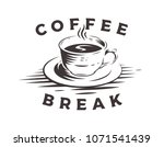 hot coffee cup logo on white... | Shutterstock .eps vector #1071541439