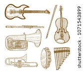 set of musical instruments.... | Shutterstock .eps vector #1071543899