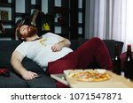ugly fat man sleeps on the...   Shutterstock . vector #1071547871