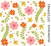cute vector floral pattern with ... | Shutterstock .eps vector #1071549461