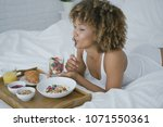 wonderful young model lying on...   Shutterstock . vector #1071550361