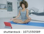 curly fit model in shorts and...   Shutterstock . vector #1071550589
