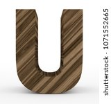 letter u 3d wooden isolated on... | Shutterstock . vector #1071552665