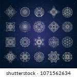 sacred geometry outline shapes... | Shutterstock .eps vector #1071562634