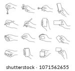 hand gestures with objects... | Shutterstock .eps vector #1071562655