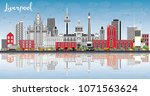 liverpool skyline with color...   Shutterstock .eps vector #1071563624