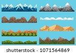 a set of pixel seamless element ...   Shutterstock .eps vector #1071564869