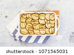 casserole with eggplant ... | Shutterstock . vector #1071565031