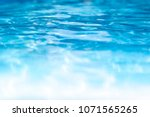 blue and white pool water... | Shutterstock . vector #1071565265