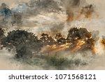 digital watercolor painting of... | Shutterstock . vector #1071568121