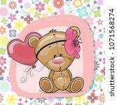 greeting card cute cartoon... | Shutterstock .eps vector #1071568274