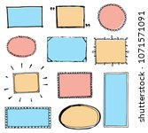 hand drawn set of simple frame... | Shutterstock .eps vector #1071571091