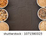 bowls with whole grain... | Shutterstock . vector #1071580325