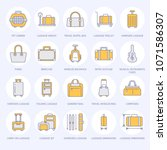 luggage flat line icons. carry... | Shutterstock .eps vector #1071586307