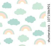 cute clouds and rainbow... | Shutterstock .eps vector #1071586901