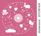rainbow  cloud  chicken  rabbit ... | Shutterstock .eps vector #1071587639