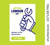 happy labour day design with... | Shutterstock .eps vector #1071587981