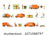 garbage collector at work set... | Shutterstock .eps vector #1071588797