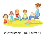 group of small kids sitting... | Shutterstock .eps vector #1071589544