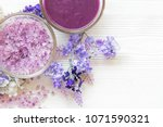 purple lavender aromatherapy... | Shutterstock . vector #1071590321
