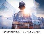 the double exposure image of... | Shutterstock . vector #1071592784