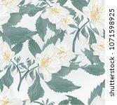 seamless texture twig jasmine... | Shutterstock .eps vector #1071598925