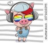 cool cartoon cute pig with sun... | Shutterstock .eps vector #1071610295