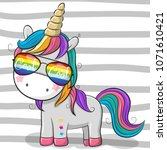 cute cartoon cool unicorn with... | Shutterstock .eps vector #1071610421