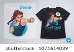 t shirt design with angry... | Shutterstock .eps vector #1071614039