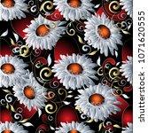 3d chamomile flowers seamless... | Shutterstock .eps vector #1071620555