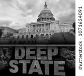 Small photo of Deep state politics concept and United States political symbol of an underground government bureaucracy with 3D elements.