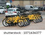 bicycle rent at the street with ... | Shutterstock . vector #1071636377