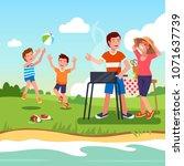 family outdoors picnic on river ...   Shutterstock .eps vector #1071637739