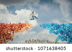 man jump from letters bridge to ... | Shutterstock . vector #1071638405