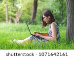 young woman with laptop sitting ... | Shutterstock . vector #1071642161