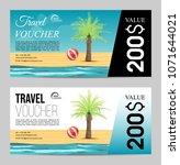 summer travel voucher with palm ...   Shutterstock .eps vector #1071644021