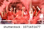 young football supporter fans... | Shutterstock . vector #1071651677