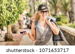young woman fashion travel... | Shutterstock . vector #1071653717