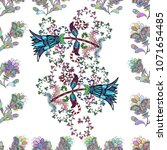 seamless spring pattern with... | Shutterstock .eps vector #1071654485