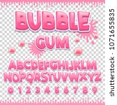 bubble gum latin font design.... | Shutterstock .eps vector #1071655835