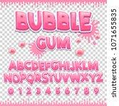 bubble gum latin font design.... | Shutterstock .eps vector #1071655835