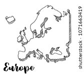 hand drawn europe map sketch... | Shutterstock .eps vector #1071663419