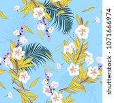 summer garden in bright ... | Shutterstock .eps vector #1071666974